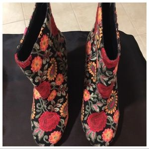 Embroidered Ankle Boot - Size 9.5
